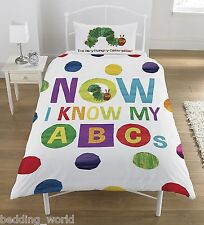 SINGLE BED HUNGRY CATERPILLAR ABC DUVET COVER SET ALPHABET LETTERS SPOTS MULTI