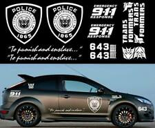 Transformers Sticker SET XXL Auto Aufkleber Car 16-teilig Decepticon Police weiß