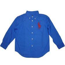Ralph Lauren Kinder Jungen langarm Hemd blau mit rotem big Pony Polo Reiter 110