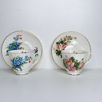 Set of 2 Duchess Fine Bone China Tea Cup & Saucer Set England Floral pink blue