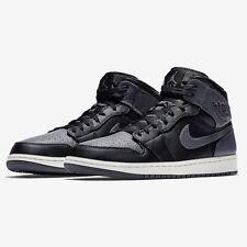 Nike Air Jordan 1 Mid Black Dark Grey White Raiders Shadow 554724-041 Men Sz 8