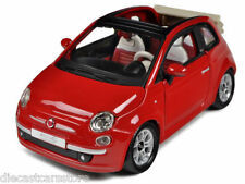 Bburago 2009 Fiat 500C Cabriolet Red 1/24 Diecast cars NEW IN BOX 18-22117RD