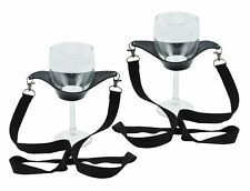 Hands Free Wine Glass Holder Necklace Wine Tasting Black Lanyard Party Set of 2