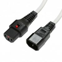 Power Extension Cable IEC C14 Male Plug to IEC C13 Female Lock WHITE 3m 3 metres