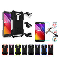 Hybrid Hard Shockproof Kickstand Cover Case + Free Tempered Glass For Asus Phone