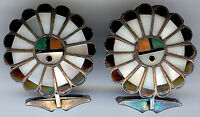 VINTAGE ZUNI INDIAN SILVER INLAY TURQUOISE CORAL ONYX SHELL SUN GODS CUFFLINKS