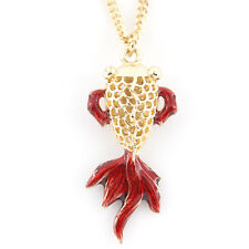 NEW Exquisite Gold-tone 3D Hollow Goldfish/Gold Fish Pendant Necklace