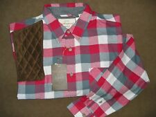 XL RH BROWN Microsuede Pad RED/WHITE/GREY Long Sleeve Flannel Shooting Shirt