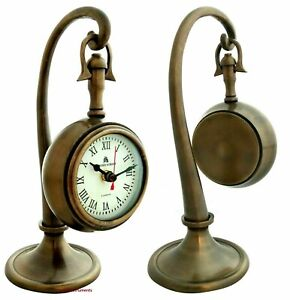 Antique Maritime Nautical Brass BOND STREET LONDON Hanging Desk Clock Gift Item