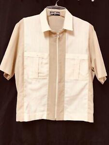 Vintage ALAN STUART Waistband Shirt Jacket Style Full Zip Beige and Cream Large