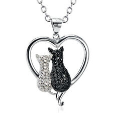 White&Black CZ Lover Cat Kitten Sterling Silver Animal Heart Dream Necklace Gift