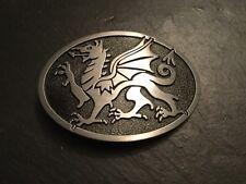 WELSH DRAGON Design Metal BELT BUCKLE Black & Silver Wales