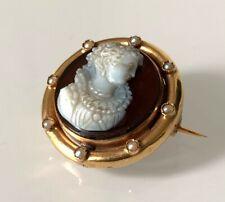 Ancienne Broche Camée Or 18 ct / Perles fines / Réf MP2123