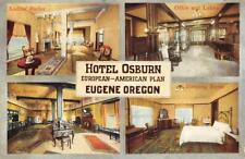 HOTEL OSBURN Eugene, OR Tea Room, Parlor Interior Views c1910s Vintage Postcard