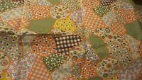 "Vintage Cotton Fabric PRINTED PATCHWORK, Orange,Green,Brown  1 Yd 31""/34"" Wide"