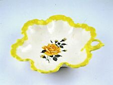 "Ceramic Nappy Candy Dish Bowl Handled Yellow White Rose Center Crazing 8"" VTG"