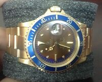 Rare Mens Rolex #1680 Vintage 18K Yellow Gold Tropical Submariner Watch