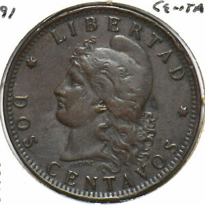 Argentina 1891 2 Centavos 294385 combine shipping
