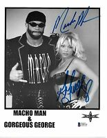 Macho Man Randy Savage & Gorgeous George Signed WCW 8.5x11 Photo BAS COA WWE NWO