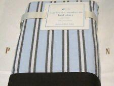 "Crib Skirt Pottery Barn Kids Baby Bedskirt Monkey See Stripe Brown Blue 16"" Drop"