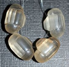 Rare! Antique European Clear Molded Barrel Shaped Pendant Beads, African Trade