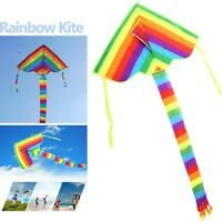 Permiun Huge Rainbow Kite Kids Children Outdoor Game Activities Fun Toy Craft