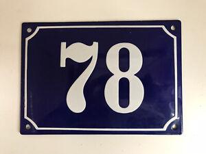 Vintage, Original, French, Blue, Enamel House Number 78 - large size