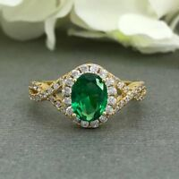 2ct Oval Cut Green Emerald Halo Infinity Engagement Ring 14k Yellow Gold Finish