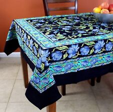 French Floral Print Cotton Tablecloth for Square Tables 60 x 60 inch Black Blue