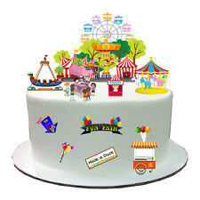 Fairground Fun Fair Carnival Stand Up Scene Edible Wafer Paper Cake Topper