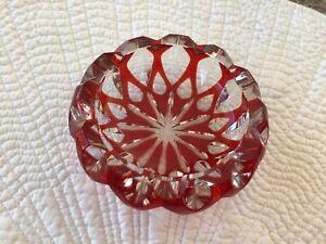 Vintage Art Glass Ashtray,  Red glass, heavy