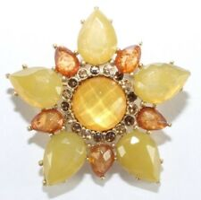 Brooch Pin - Flower - Brown & Yellow Acrylic Stones - Rhinestones - Gold Tone