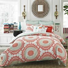 ANTHOLOGY BUNGALOW FULL/QUEEN 3 PC COMFORTER SET MOROCCAN CORAL GREEN NEW