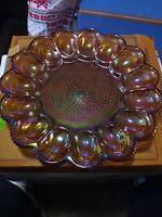 "Vintage Indiana Glass Amber Carnival Hobnail Deviled Egg Relish Plate Tray 11"""