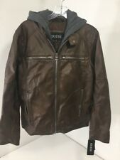 GUESS MEN'S FAUX LEATHER HOODED MOTO JACKET BROWN XS  NWT $300