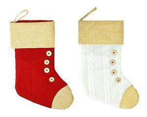 2 Christmas Stockings Set White Red Festive Novelty Gifts Presents Soft 40cm