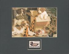 Dogs / Puppies And Hunting Gear - Duck Decoy Stamp - Frameable Stamp Art - 0338