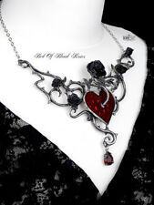 Alchemy Gothic Bed Of Blood Heart Roses Flowers Pendant Necklace Jewellery Chain