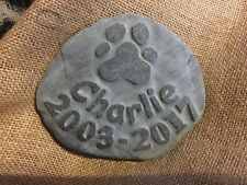 Hand made personalized pet memory natural stone dog cat with paw print name date
