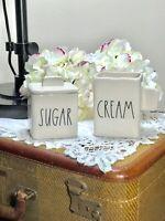 "New RAE DUNN LL ""SUGAR"" & ""CREAM"" Square Sugar Bowl & Creamer By Magenta"