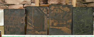 4 Linocut Panels Plates Antique Art Nouveau Miniprint Panels Saffran