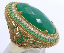 SIZE 9.5 New Cocktail STERLING SILVER EMERALD Green Chalcedony WHITE TOPAZ RING