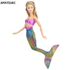 Pink Colorful Mermaid Tail Doll Dress For Barbie Doll Clothes Evening Dress 1:6