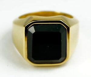 Men's Gold Colour Stainless Steel Black crystal signet Pinky ring Jewellery