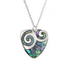Paua Shell Two Tone Plectrum Swirl Pendant Silver Chain Necklace - Blue / Green
