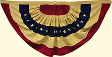 """New Country Primitive Aged Tea Stained  AMERICAN FLAG BUNTING Americana Swag 30"""""""