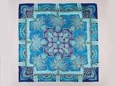 "Large Square Silk Jacquard Scarf 36""x36"" (90x90cm) Blue SBD005"