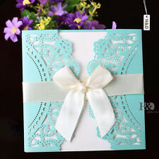60 Sets Tiffany Blue Wedding Invitations Cards Party Favor Decor with Ribbon Bow