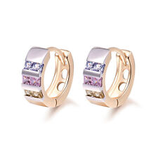 18 k Gold Plated Baby Girl Pink Purple Green Zircon Hoops First Earrings E1250
