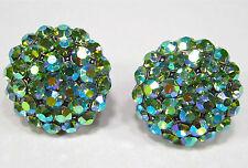 SoHo® Ohrclips vintage Strass Kristalle 60er Jahre peridot aurore boreale grün